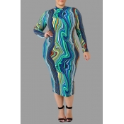 Lovely Casual Printed Blue Knee Length Plus Size D