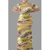Lovely Casual Printed Light Green Floor Length Plu