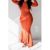 Lovely Casual Skinny Orange Floor Length Trumpet Mermaid Dress