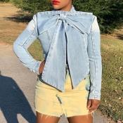 Lovely Chic Mandarin Collar Bow-Tie Denim Shirt Lo