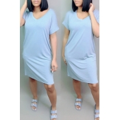Lovely Leisure V Neck Blue Knee Length Dress