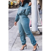 Lovely Casual Turndown Collar Blue Two-piece Pants