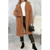 Lovely Trendy Winter Turn-down Collar Brown Teddy Coat