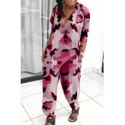 Lovely Trendy V Neck Loose Pink One-piece Jumpsuit