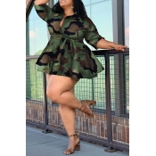 Lovely Casual Camouflage Printed Plus Size Mini Dr
