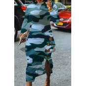 Lovely Casual Camouflage Printed Mid Calf Dress