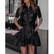 Lovely Casual Turndown Collar Black Two-piece Skir