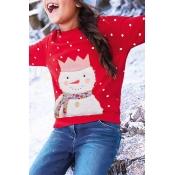 Lovely Christmas Day Printed Red Girls Sweatshirt