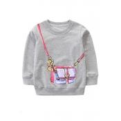 Lovely Casual Printed Light Grey Sweatshirt Girls