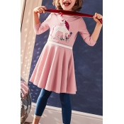 Lovely Christmas Day Patchwork Pink Knee Length Gi