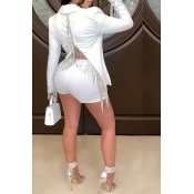 Lovely Sexy Deep V Neck White Two-piece Shorts Set