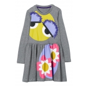 Lovely Sweet Printed Grey Knee Length Girls Dress