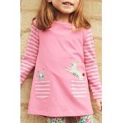 Lovely Sweet Striped Pink Knee Length Girls Dress