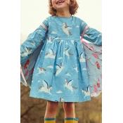 Lovely Sweet Printed Sky Blue Knee Length Girls Dr