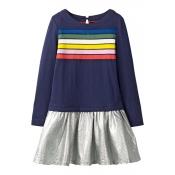Lovely Sweet Striped Deep Blue Knee Length Girls D