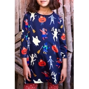 Lovely Halloween Printed Navy Blue Knee Length Gir