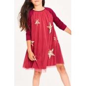 Lovely Sweet Patchwork Red Knee Length Girls Dress