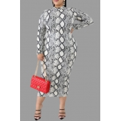 Lovely Casual Printed Snakeskin Printed Knee Length Plus Size Dress