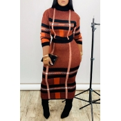 Lovely Casual Turtleneck Plaid Jacinth Two-piece Skirt Set