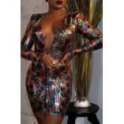 Lovely Sexy Deep V Neck Multicolor Mini Dress
