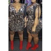 Lovely Trendy Printed Black Plus Size Mini Dress