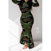 Lovely Casual Camouflage Printed Ankle Length Dres