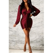 Lovely Sweet Ruffle Design Wine Red Mini Evening Dress