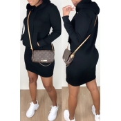 Lovely Casual Hooded Collar Black Mini Dress