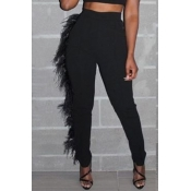 Lovely Casual Tassel Design Black Pants
