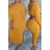 Lovely Casual O Neck Hollow-out Yellow Ankle Lengt