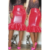 Lovely Chic Flounce Design Red Knee Length Skirt