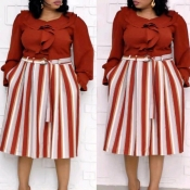Lovely Casual Striped Wine Red Mid Calf Plus Size