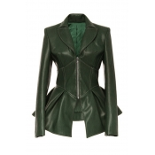 Lovely Casual Flounce Green Coat