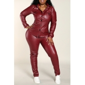 Lovely Work Skinny Wine Red Plus Size Two-piece Pa