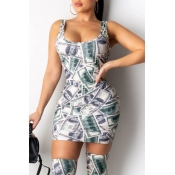 Lovely Trendy Printed Green Mini Dress(With Stocki