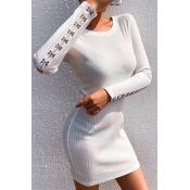 Lovely Casual Bandage Design White Mini Dress