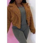 Lovely Casual Basic Brown Coat