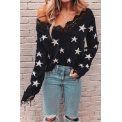 Lovely Star Patchwork Black Sweater