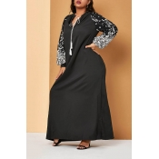 Lovely Casual Patchwork Black Floor Length Plus Si