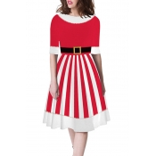 Lovely Christmas Day Striped Printed Red Mini Dres