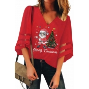 Lovely Christmas Day Printed Red Blouse