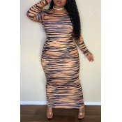 Lovely Casual Tiger Stripes Ankle Length Plus Size