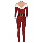 Lovely Cosplay Patchwork Wine Red One-piece Jumpsuit