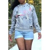 Lovely Casual Broken Holes Grey Sweatshirt Hoodie