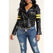 Lovely Casual Basic Zipper Design Black Jacket