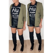 Lovely Casual Buttons Green Blazer