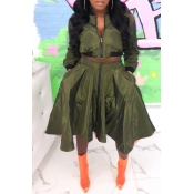 Lovely Casual Turndown Collar Army Green Two-piece