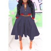 Lovely Casual Turndown Collar Deep Blue Two-piece Skirt Set