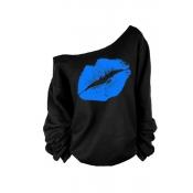 Lovely Casual Lip Printed Blue Plus Size Sweatshir