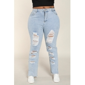 Lovely Casual Broken Holes Baby Blue Plus Size Jea